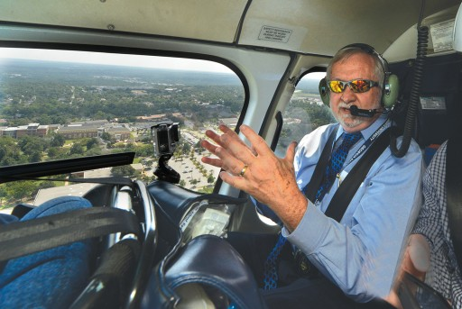 Keel surveys the Augusta University campuses by helicopter.