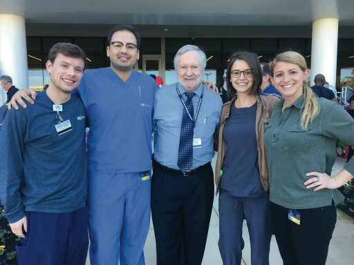 President Keel with 108 Class President Chas Pleasance (from left), 2018 Class Treasurer Nick Sasser, 2018 Class Vice President Dahlia Levine and Abby Halpern ('18), vice president for the DCG chapter of the American Dental Student Association