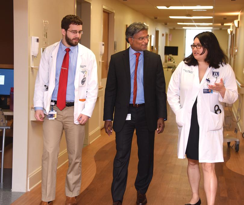 (from left) Medical student Madison C. Archer, Dr. Anand P. Jillella and internal medicine resident Dr. Elizabeth Zhang-Velten