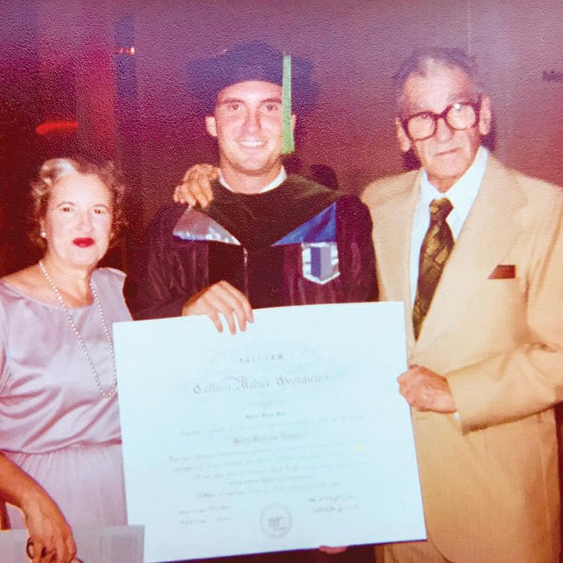Pena with his parents at his 1981 MCG graduation