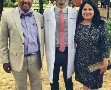 White-coat recipient Varun Iyer with parents