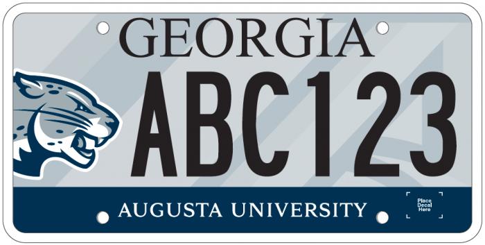 Augusta University license plate