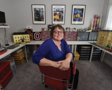Kim Davies in Lego room