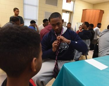 Jocks and Gents tie tutorial for fifth-graders at Gracewood Elementary