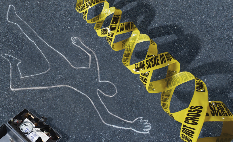Cover photo illustration of DNA crime scene