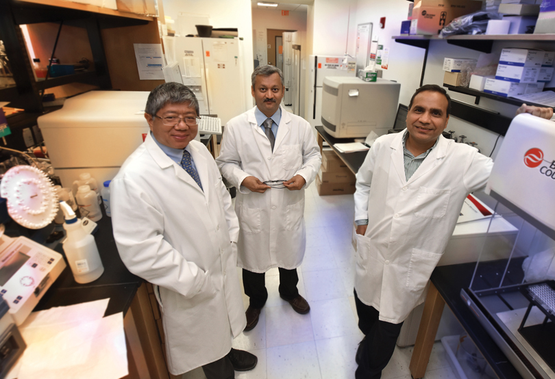 Drs. Jin-Xiong She, left, Sharad Purohit and Ashok Sharma
