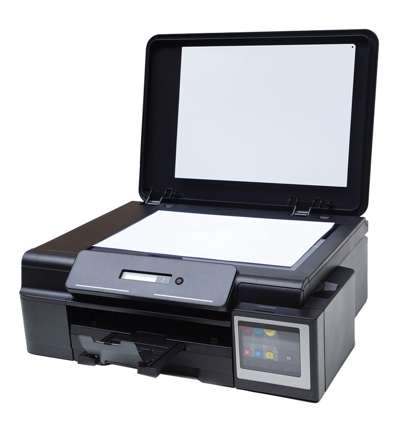 Color printer with a scanner isolated on white