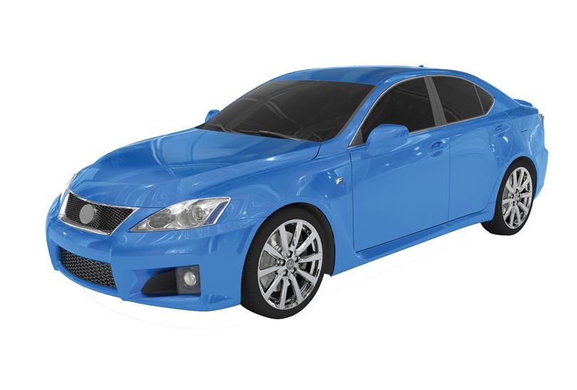 car isolated on white - blue paint tinted glass - front-left side view - 3d rendering