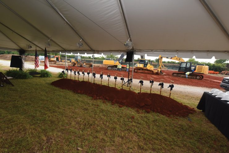 Ceremonial shovels are ready for the groundbreaking of the Hull McKnight Georgia Cyber Center. Photos by Phil Jones/Augusta University