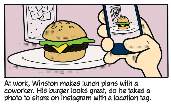 At work, Winston makes lunch plans with a coworker. His burger looks great, so he takes a photo to share on Instagram with a location tag.