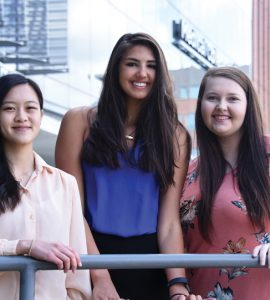 Inaugural Dental Scholars Jessie Yuan (from left), Paige Elliott and Courtney Marshall