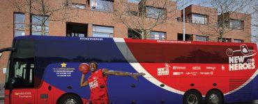 The New Heroes basketball team's bus features Keshun Sherrill (BA '17).