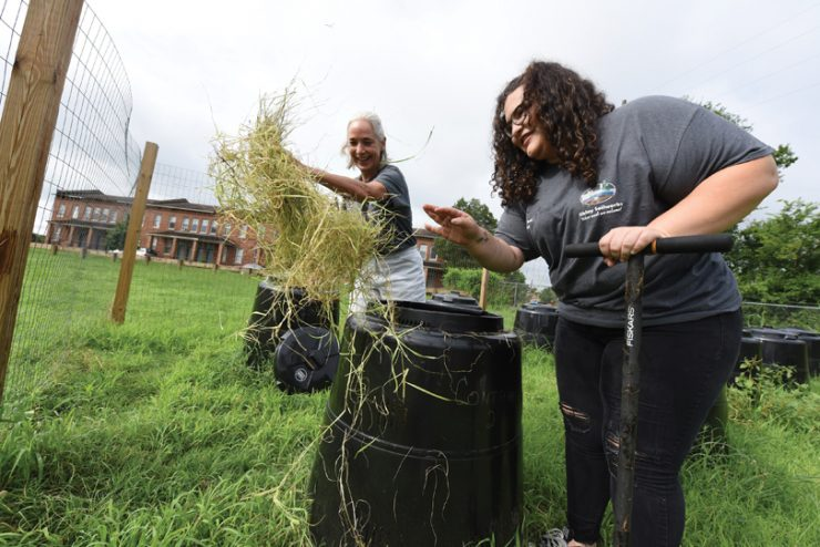 Dr. Donna Wear and Bryauna Barrera (BS '18) sort through compost barrels. Photo by Phil Jones