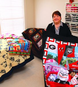 Woman with quilts