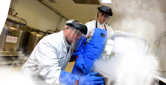 Dr. Roni Bollag and assistant in lab