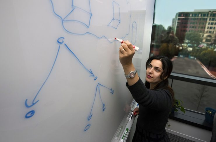 Dr. Hoda Maleki at whiteboard