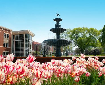 Summerville fountain with spring flowers