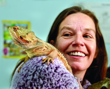 Dr. Catherine Jauregui with her bearded dragon.