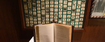 old book on display in museum