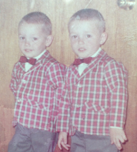 three photos featuring the same twin boys at various ages